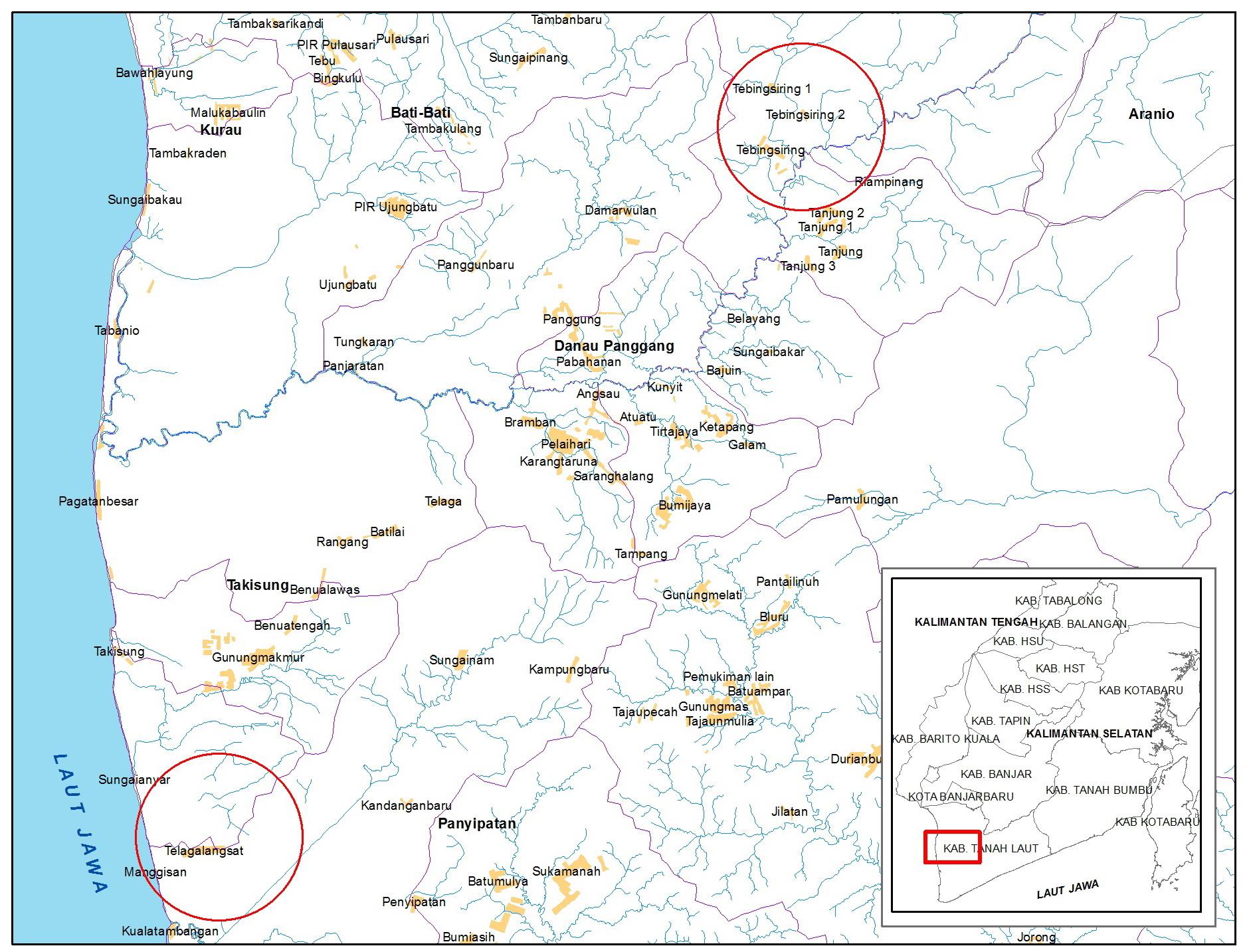 Lokasi Desa Tebing Siring di DAS Tabunio dan Desa Telaga Langsat di DAS Gayam, wilayah kerja BPDASHL Barito (Disusun : Nolianto Ananda)