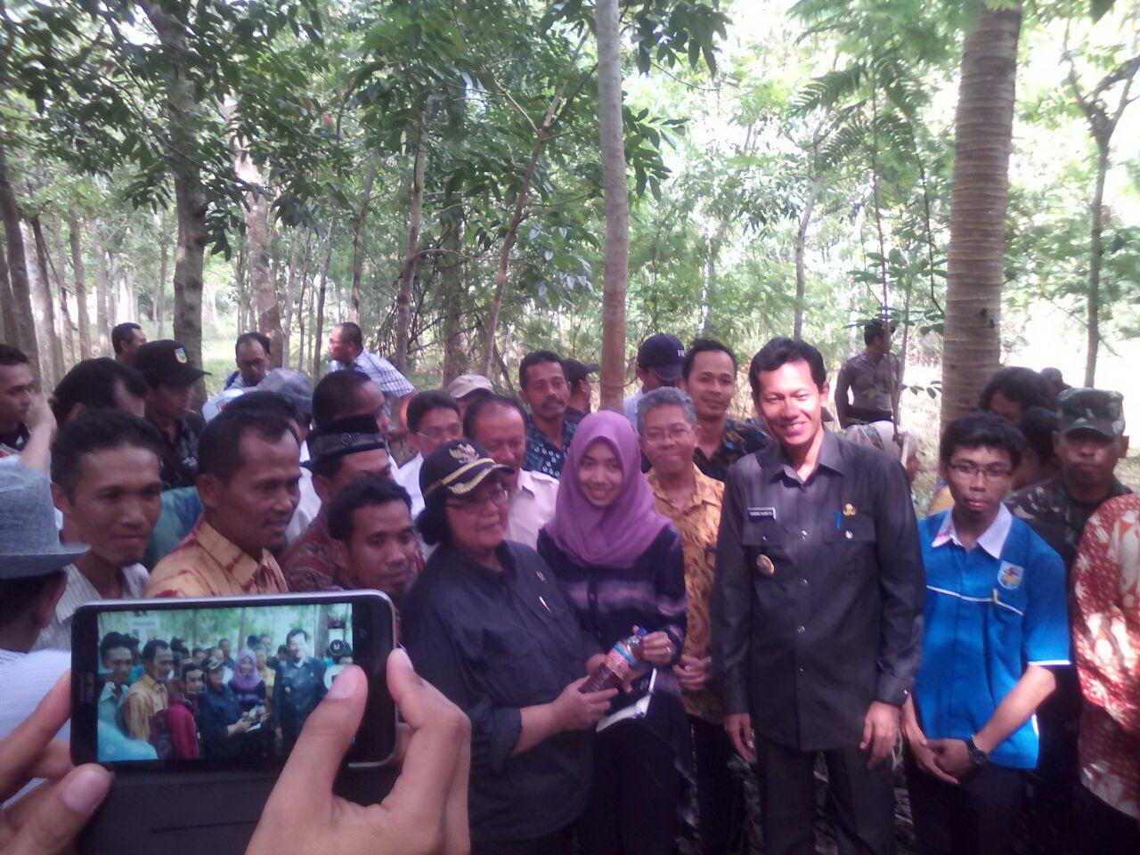 Dr. Siti Nurbaya, MenLHK, saat berkunjung di Desa Telaga Langsat didampingi Bupati Tala, Kabalai BPDASHL Barito dan LSM