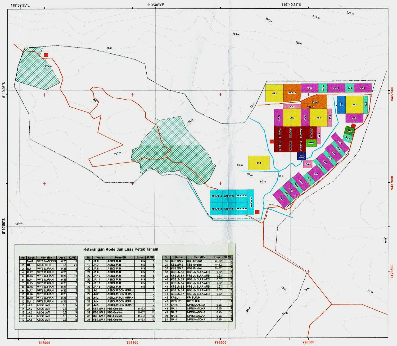 Peta Pembangunan Dan Pengembangan Perbenihan Region Sulawesi oleh BPTH Wilayah II yang terdiri dari Blok KBS, ASDG, MPTS dan KP dengan luas 103 ha