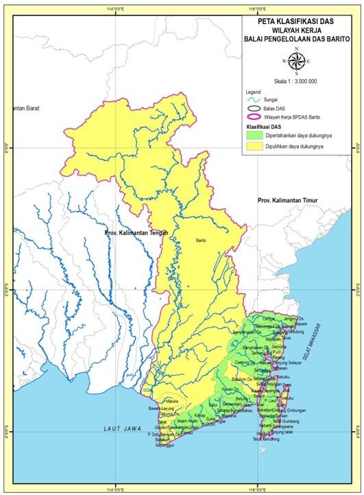 Peta DAS di wilayah kerja BPDASHL Barito meliputi Provinsi Kalimantan Selatan dan Kalimantan Tengah